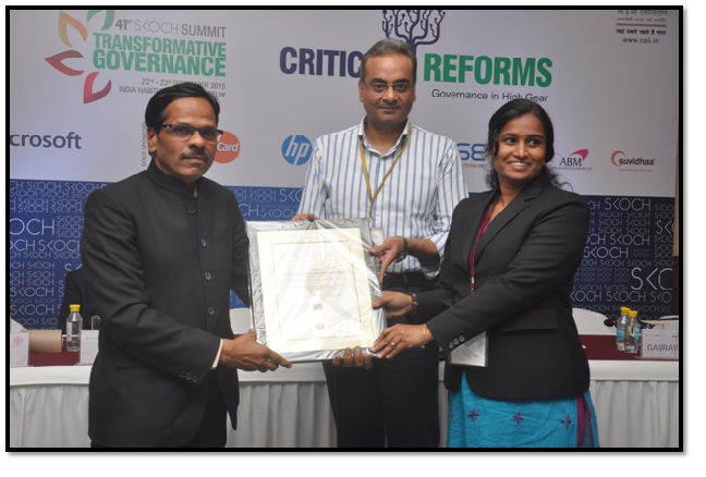 eDISNIC (electronic District Information System of National Informatics Centre) received Skoch Order of Merit award 2015