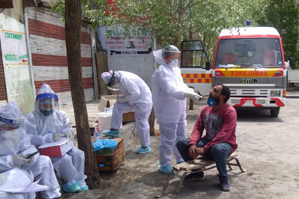 Swab sample of 50% shopkeepers collected in Khaltsi sub-division