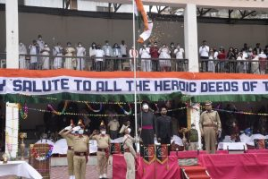 75th Independence Day Celebrations, CEC Feroz Khan unfurls tricolor at Khree Sultan Cho Sports Stadium Biamathang (4)
