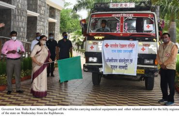 Governor Smt. Baby Rani Maurya flagged off the vehicles carrying medical equipments and other related material for the hilly regions of the state from the Raj Bhawan.