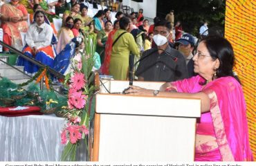 Governor addressing the event organizing on the occasion of the hariyali Teej in Police line.