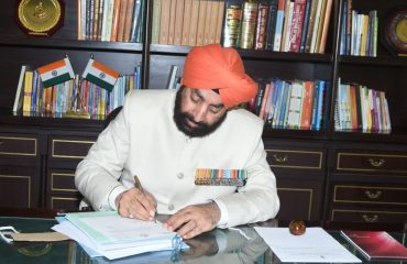 After taking oath Governor Lieutenant General (Retired) Shri Gurmit Singh started his official work at Raj Bhawan