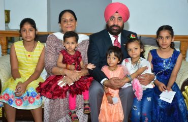 Governor and his wife with little girls on the occasion of Kanya Pujan on Mahanavami.