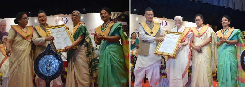 Governor Bhagat Singh Koshyari today conferred the Honorary Doctor of Letters(D/Litt) on the former Head of Rashtra Sevika Samiti Pramilatai Medhe and well-knownwriter poet Dr Aruna Dhere. Vice Chancellorof the University Dr Shashikala Wanjari, Founder Director of Udyamita VidyapithChitrakoot Dr Nandita Pathak, Pro Vice Chancellor Dr Vishnu Magre, SudhirThackersey and others were present.