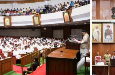 Governor Bhagat Singh Koshyari addressed the first session of Maharashtra State Legislature at Vidhan Bhavan in Mumbai. Chairman of Legislative Council Ramraje Naik Nimbalkar, Speaker of Legislative Assembly Nana Patole and Chief Minister Uddhav Thackeray and others welcomed to the Governor