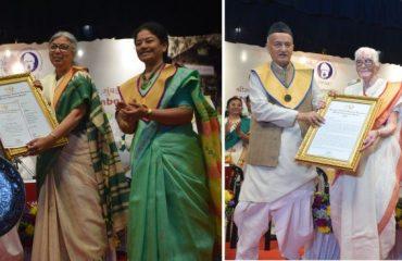 Governor Bhagat Singh Koshyari today conferred the Honorary Doctor of Letters(D/Litt) on the former Head of Rashtra Sevika Samiti Pramilatai Medhe and well-knownwriter poet Dr Aruna Dhere.Vice Chancellorof the University Dr Shashikala Wanjari, Founder Director of Udyamita VidyapithChitrakoot Dr Nandita Pathak, Pro Vice Chancellor Dr Vishnu Magre, SudhirThackersey and others were present.