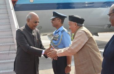 Governor Bhagat Singh Koshyari welcomed President of India Ram Nath Kovind at the IAF Station, Lohegaon in Pune