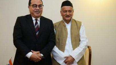 The newly appointed Consul General of the Republic of Indonesia in Mumbai Agus P. Saptono called on the Governor of Maharashtra Bhagat Singh Koshyri at Raj Bhavan in Mumbai