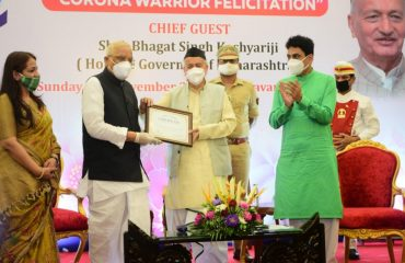 Governor felicitated Corona Warriors at function organized by Marwari Federation